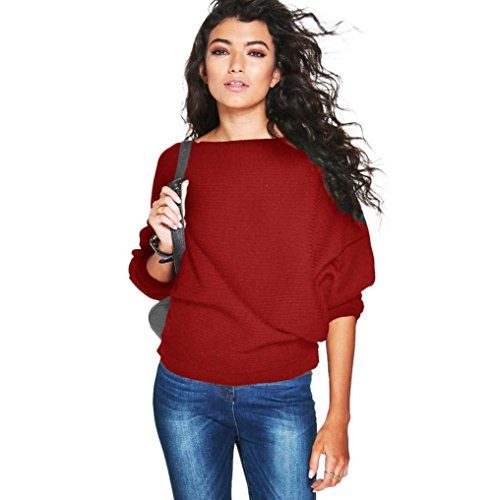 kaifongfu Women Sweater, Batwing Sleeve Knitted Pullover Loose Sweater Jumper Tops Knitwear (M, Red)