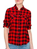 MAYSIX APPAREL Womens 3/4 Sleeve Plaid Roll-Up Button Down Collar Office Formal Shirt Blouse RED L