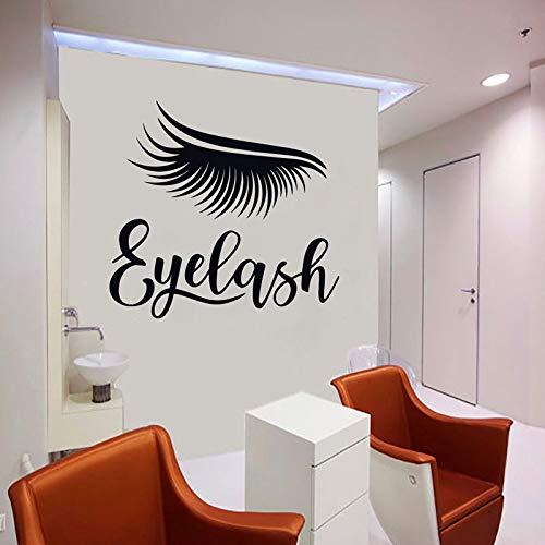 Wimper muursticker, raamsticker, custom muursticker, beauty salon aanbieding, kleedkamerdecoratie, gepersonaliseerde naam 66x63cm