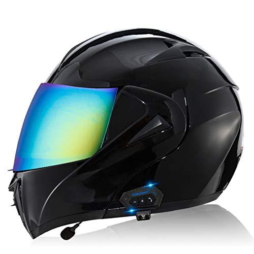 ZLYJ Bluetooth Motocicleta Casco Integral, Abierto Cascos Moto, Modulares Casco con Anti-Niebla Doble Visera, Profesional Unisex Casco Motocross, Certificado ECE E,S