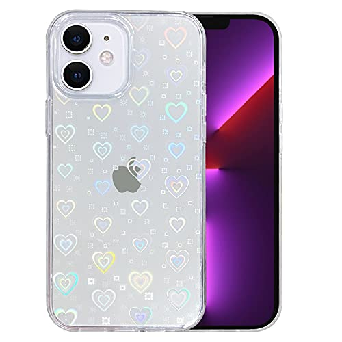 SmoBea Compatible with iPhone 11 6.1 Inch 2019, Clear Laser Glitter Bling Heart Soft & Flexible TPU and Hard PC Shockproof Cover Women Girls Heart Pattern Phone Case (Rainbow Heart/Clear)