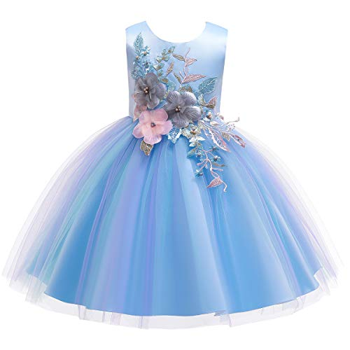 Flower Girls Rainbow Princess Puffy Tulle A Line Dress Wedding Bridesmaid Party Pageant Prom Formal Dance Evening Short Gown for Kids Blue 13-14 Years