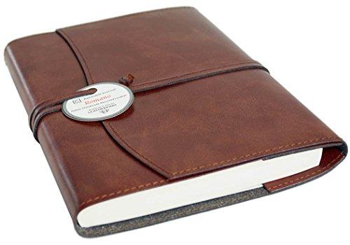 Romano Recyceltes Leder Nachfüllbares Notizbuch Haselnussbraun, A5 Blanko Seiten - Handgefertigt in Italien von LEATHERKIND