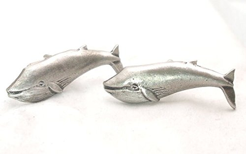 Boutons de Manchette Baleine Bleue avec Boîte à Cadeau