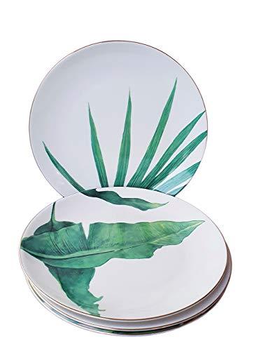 LA VITA VIVA Porzellan Dessertteller im 4er Vorteils-Set mit Goldrand Ø21 cm - Kleine Speiseteller mit erfrischenden naturnahen Blattmotiven
