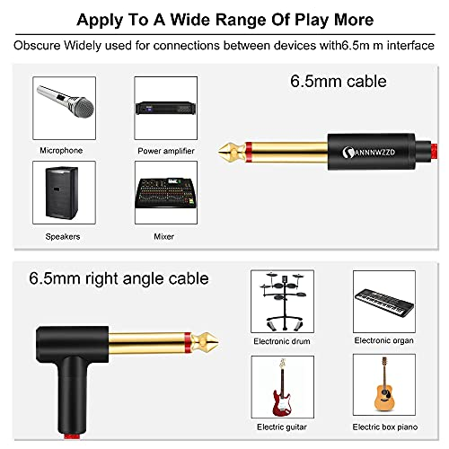 LinkinPerk Guitar Cable 6.35mm TS Mono Instrument Performance Cord 1/4 Straight to Right Angle Jack for Guitar, Bass, Keyboard (2M)