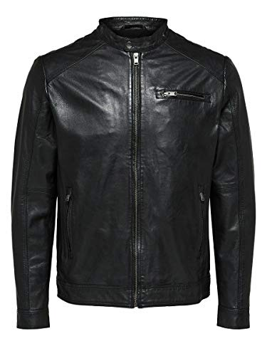 SELECTED HOMME Male Lederjacke Lamm - MBlack