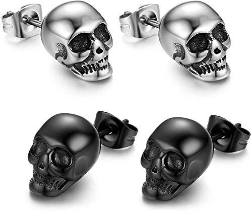 YUESEN Calavera Piercing de oído Hombre Pendientes 2 Pares de Pendientes de Acero Inoxidable Punk con diseño de Calavera para Hombre, Color Plateado y Negro