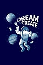 """Dream & Create: Funny Dream & Create Astronaut Space Galaxy UFO Journal 100 Pages, 6"""" x 9""""(15.24 x 22.86 cm), Solt Cover, Matte Finish ( Space Galaxy Themed Lined NotBook )"""
