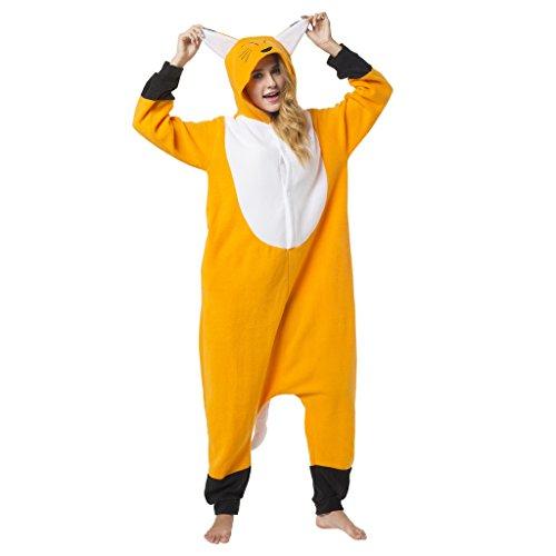Katara 1744 -Fuchs Kostüm-Anzug Onesie/Jumpsuit Einteiler Body für Erwachsene Damen Herren als Pyjama oder Schlafanzug Unisex - viele Verschiedene Tiere