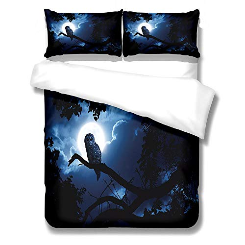 DZZQQ Duvet Cover Set Super King-Moon Night Predator-Owl Zipper Closure with 2 Pillow covers Bedding Set Ultra Soft Hypoallergenic Microfiber Quilt Cover Sets