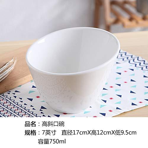 GYHJG Geneigte Schüssel Reinweiß Keramik Schüssel Obstsalat Schüssel Suppenschüssel Pasta Ramen Western Geschirr 7 Zoll