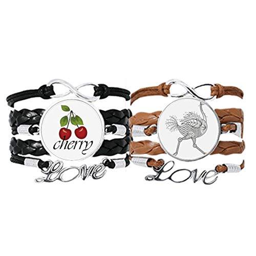Bestchong Pulsera de piel con diseño de pájaros, estilo art decó, para regalo, correa de mano, cuerda de piel y cereza, juego doble