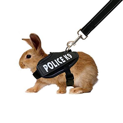 Vehomy Kaninchengeschirr mit Leine für Kaninchen Katzen Kleintiere (schwarz)