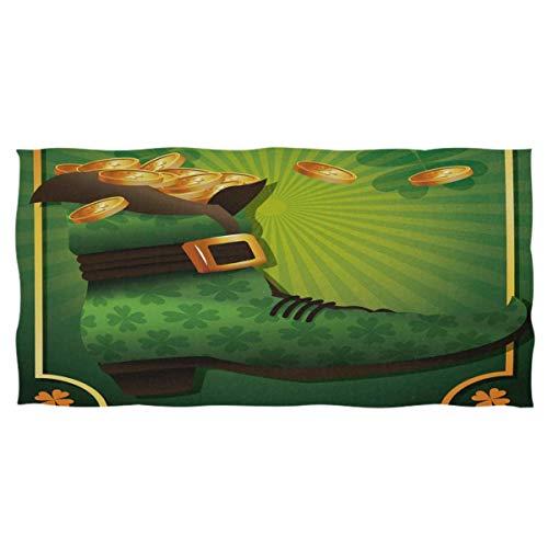jonycm Beach Towel Vintage Klee Kobold Stiefel St. Patrick's Day Goldmünzen Absorbent 80X130Cm Wiederverwendbaren Strand Handtuch Bad Bett Außenpool Handtücher Mehrzweck Erwach