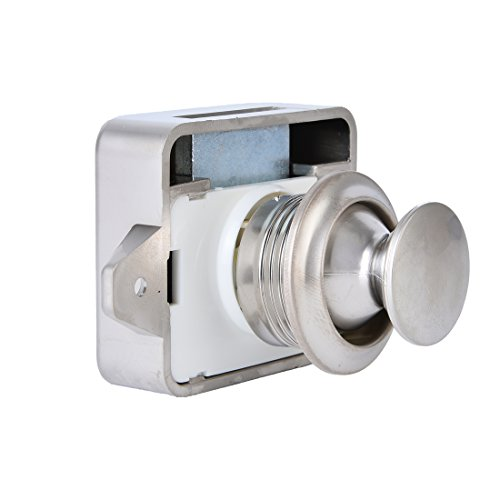 5 Stück schlüsselloser Kunststoff-Druckknopfverschluss von BONA, kleiner Ersatz für Wohnwagen, Wohnmobil, für Möbel von 15 - 18 mm Dicke (Pearl Nickel)