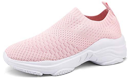 ZUSERIS Zapatillas Deportivas Caminar para Mujer Slip on Calzado de Deporte Zapatos de Correr Running Sneakers Ligeras Zapato Rosa 38