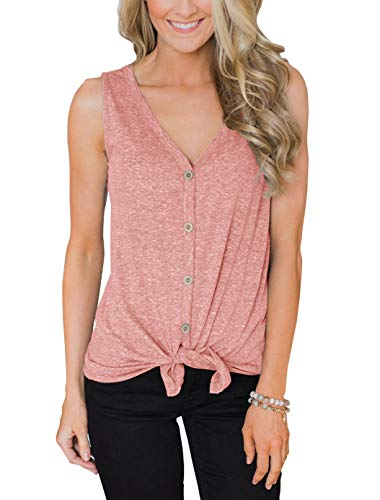 PRETTODAY Women's Summer V Neck Tank Tops Tie Front Button Up Sleeveless Shirts Casual Loose Blouses Pink Blush
