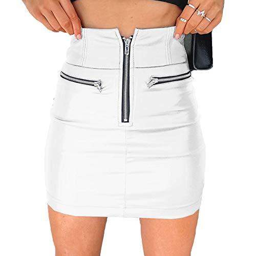 Geagodelia Damen Lederrock Reißverschluss Rock Hohe Taille Sexy Minirock A Linie PU Leder Rock Party Clubwear Bodycon (Weiß - A, XL)