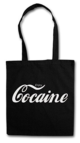 Enjoy Cocaine Hipster Shopping Cotton Bag Cestas Bolsos Bolsas de la Compra Reutilizables - Fun Pablo cocaína Escobar Kult Drug Retro Mafia Mobster Blow