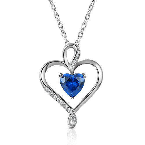 Caperci Collana con ciondolo a forma di cuore in argento Sterling con Caperci heart-shaped lab-created zaffiro blu, 18'