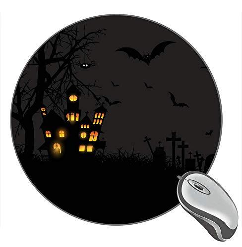 Halloween Schloss Mond Kürbisse Fledermäuse Mond Eulen Friedhof 10896 Hintergrund Desktop Gummi Rutschfest Gaming Runde Maus Pad Maus Matte Mousepad