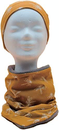Set Schal & Mütze für Kinder - senfgelb senf Libelle