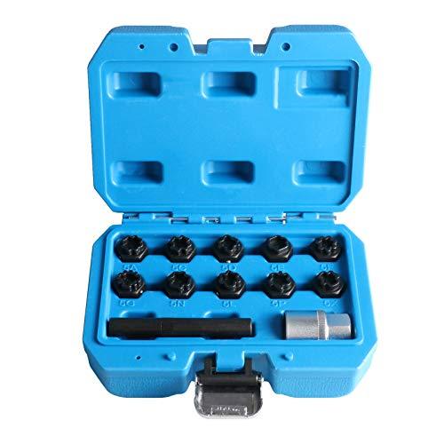 Set di 12 viti antifurto per la rimozione di dadi per Mercedes Benz, kit di rimozione chiavi a bussola con adattatore da 12,7 mm