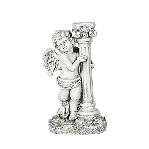 WGLG 49cm Escultura de ángel Antiguo Muebles de Patio lámpara de Calle Solar para Interiores y Exteriores decoración de Paisaje de jardín artesanías de Resina