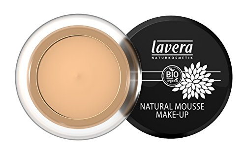 lavera Natural Mousse Makeup Foundation ∙ Farbe Honey Hautfarbe ∙ matter Teint & cremige Textur ∙ Natural & innovative Make up ✔ vegan ✔ Bio Pflanzenwirkstoffe ✔ Naturkosmetik ✔ Teint Kosmetik 1er Pack (1 x 15 g)