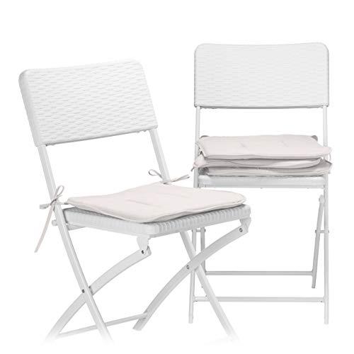 Relaxdays Set 4 cuscini per sedia imbottiture con nastri casa e giardino colori intensi lavabili poliestere talpa