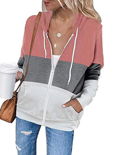 Uusollecy Damen Sweatjacke Hoodie Sweatshirtjacke Pullover Oberteile Kapuzenpullover Einfarbig Full Zip Casual Hoodie Sweatshirt B-rosa XL