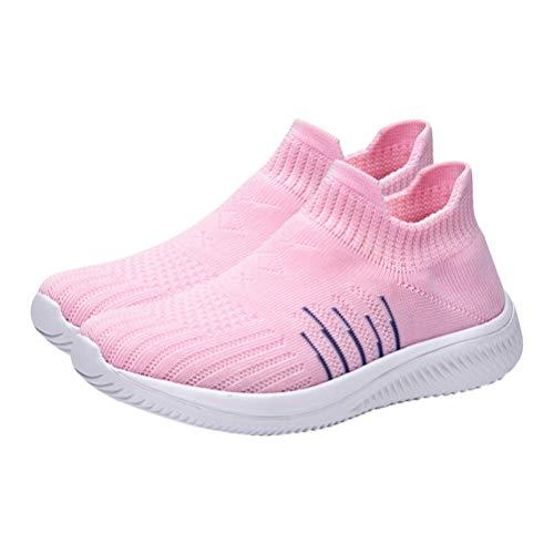 Happyyami 1 par de tênis de corrida leve, respirável, de malha para academia, para caminhada, atividades ao ar livre, sapatos femininos de tricô, rosa, 8