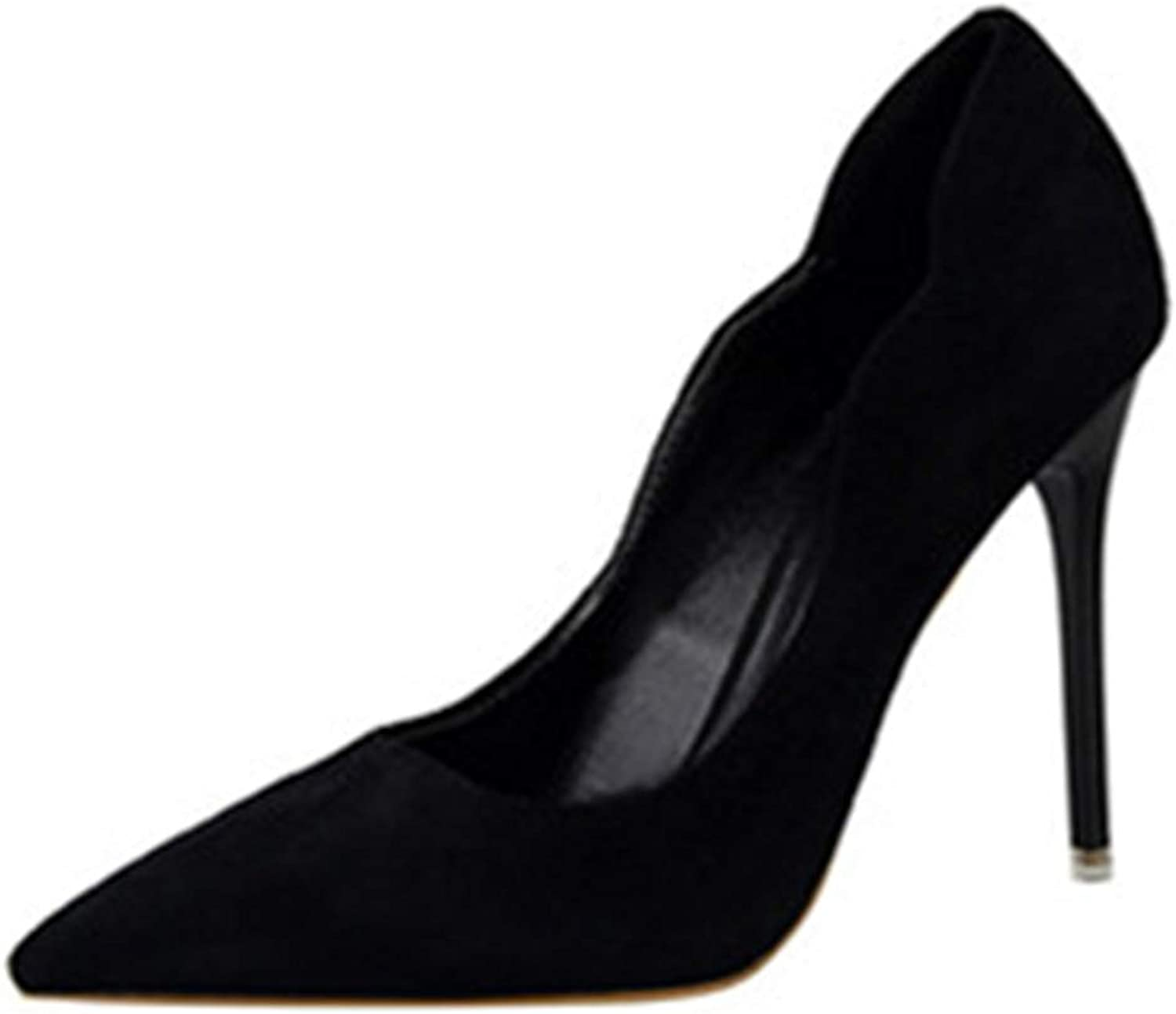 ZLL8 Ms. Simple Shallow Suede Pointed Openwork high Heels