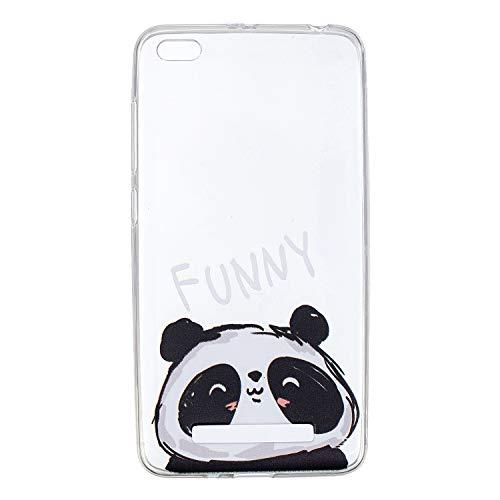 Funda Compatible Xiaomi Redmi 4A.KunyFond Carcasa Case Cover Silicona TPU Transparente Flor Pintura Pintado Impresion Premium Calidad Vistoso Frame Flores Resisten Slim Bumper Anti Golpes-Lindo Panda