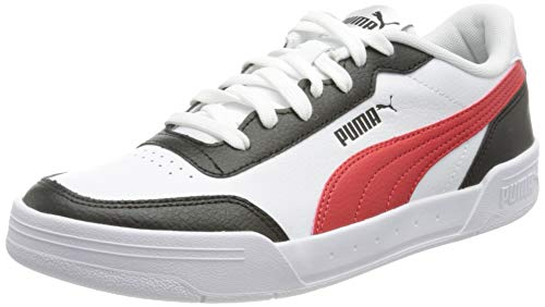 PUMA Unisex Caracal Sneaker, Weiß - Puma Weiß Poppy Rot Puma Schwarz - Größe: 42 EU