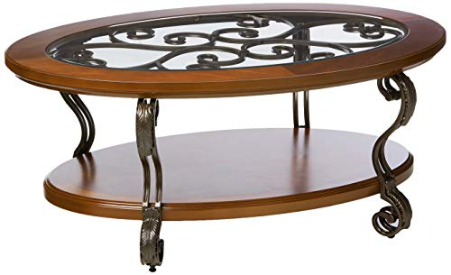 Signature Design by Ashley - Nestor Glass Top Oval Coffee Table, Medium Brown