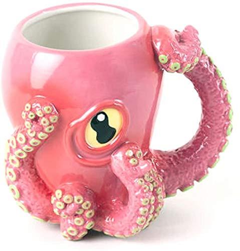 Pink Octopus Ceramic Coffee Mug with Tentacle Handle