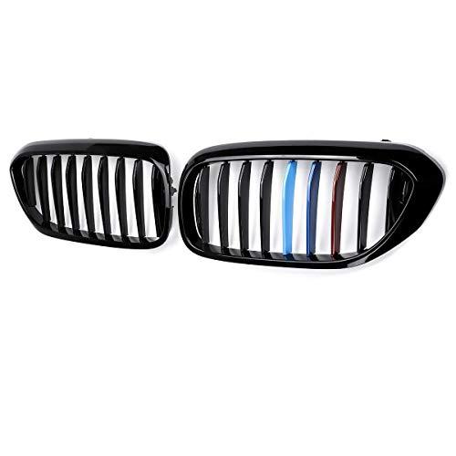 MADAENMJ Parrilla De Delantal Delantero, para BMW 5 Series M5 G31 520I 530I 540I 2017-2018 Abs 2 Lamen Rejilla De Riñón Delantera Negra Brillante De Repuesto G30 G38, Negro Brillante 1 Lama