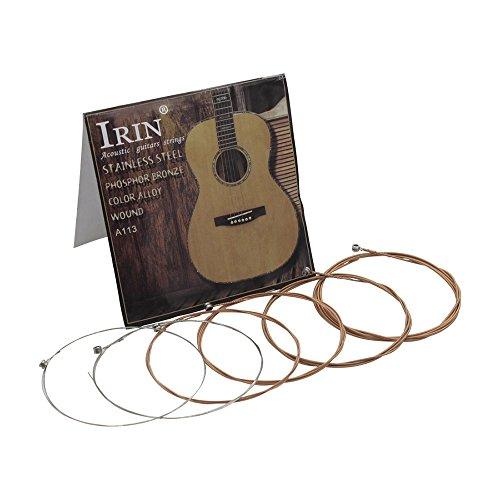 Festnight Corde per chitarra folk acustiche Filo in lega di acciaio inossidabile Filo di rame rivestito, 6 pezzi/confezione (.010-.047)