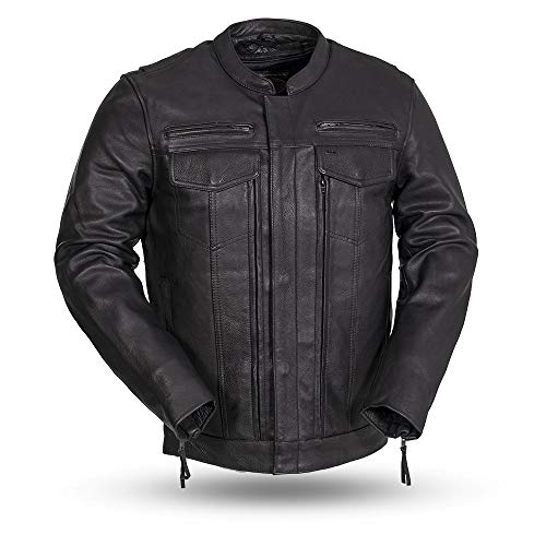 First MFG Co. - Raider - Men's Protective Biker Motorbike Motorcycle Leather Jacket (Black, X-Large)