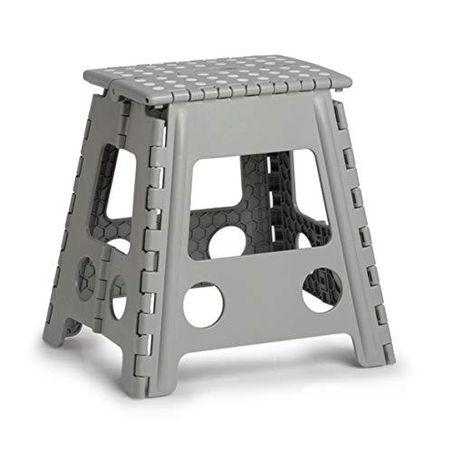 Zeller 13036 PREMIUM Klapphocker faltbar, Kunststoff, grau, TÜV geprüft, belastbar bis 150 kg, ca. 38,5 x 31,5 x 39 cm, groß