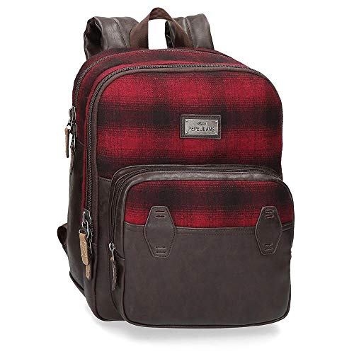 Pepe Jeans Scotch Laptop-Rucksack Rot 27x36x12 cms Polyester und PU 13,3