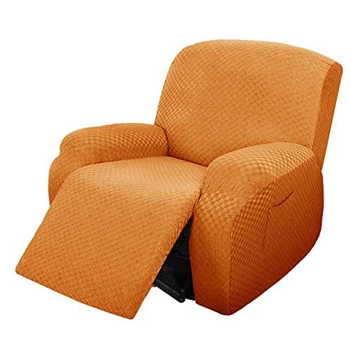 CLGTY 4 Piezas Funda De Sillón Relax Elástica,Suave Jacquard Completo Protector para Sillón Reclinable Antideslizante Lavable Protector De Muebles para Sala De Estar-Naranja-Sillón reclinable