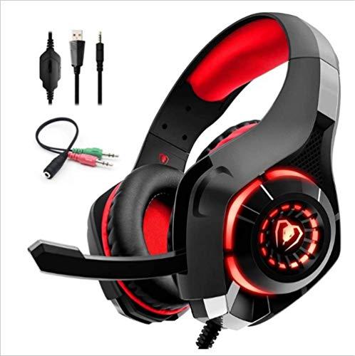 Auriculares GM-1 Auriculares para Juegos Auriculares PS4 Excelentes Auriculares para Juegos GM-1 para PS4 Xbox One, cómodo LED de Cristal Transparente con reducción de Ruido (Negro Rojo)