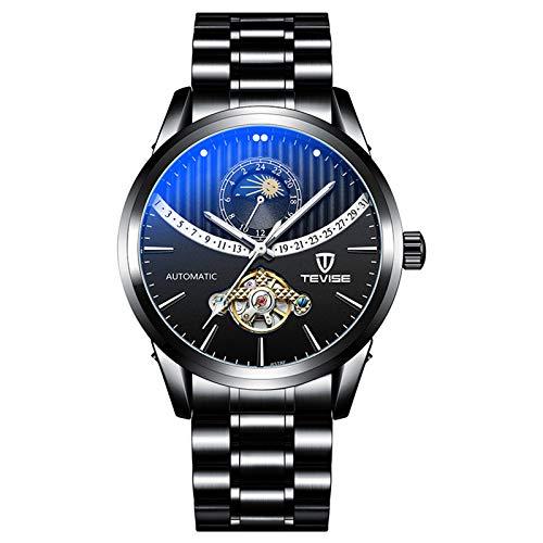 QZPM Hombres Automático Mecánico Relojes Acero Inoxidable Bracelet Esfera Luminosa Multifunción Analógico Impermeable Cronógrafo Business Relojes,All Black