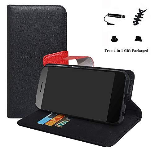 LFDZ Vodafone Smart E8 Hülle, [Standfunktion] [Kartenfächern] PU-Leder Schutzhülle Brieftasche Handyhülle für Vodafone Smart E8 Smartphone (mit 4in1 Geschenk Verpackt),Schwarz