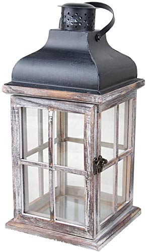 pnxq88 Lanterne Maison Vintage Décoration Style Européen avec Poignée Cadeau Jardin Bougeoir Suspendu Exquis Bois Métal Fait à la Main Mariage (12.5 12.5 28CM) - comme Image Spectacle, 11.5 11.5 21cm