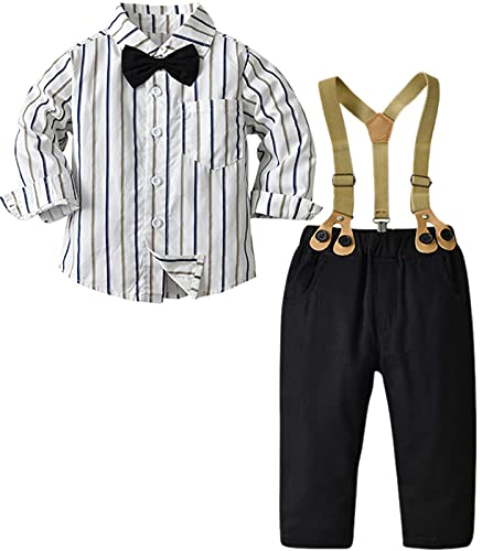 Boys Clothes, 3Pcs Stripe Long Sleeves Formal Shirt with Bow Tie + Suspender Pants Set Gentleman Outfit, Stripes White, 3-9 Months = Tag 60