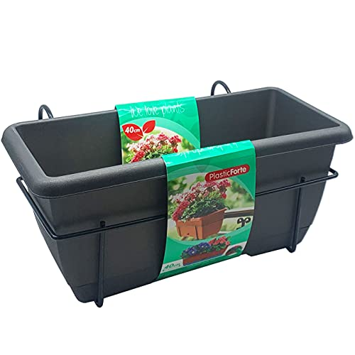 Plastic Forte - Jardinera para balcón con Plato y Soporte de metálico, 40 x 19,5 x 17 cm. Macetero de plástico para Colgar, 8L con Plato Integrado para Agua (Gris)